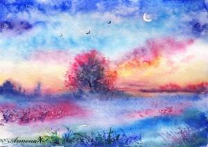 narisovannyj-pejzazh-akvarel-derevo-pticy-trava
